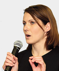 Kelly Sotherton giving a speech