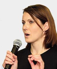 Kelly Sotherton giving a speech