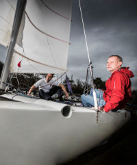 Will Thompson, vice commodore at Dee Sailing Club has been able to sail again following treatment for arm and back problems by Spire physio manager Chris Buckley.